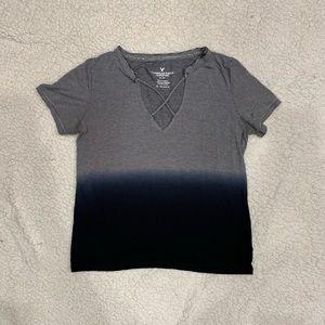 American Eagle xs Striped Blue Fade Shirt